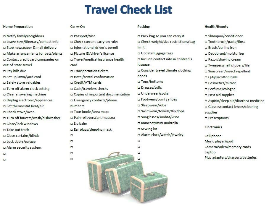 travel check list happy cruisers inc florida